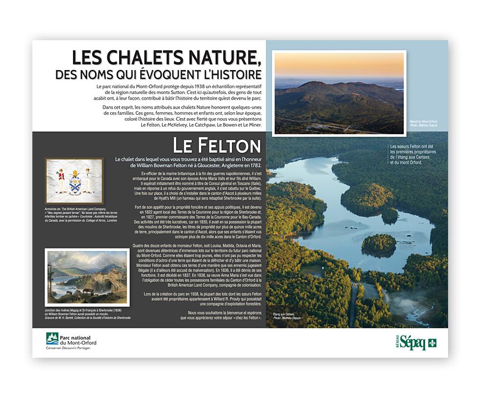 Panneaux historique Mont-Orford SEPAQ, Le Felton