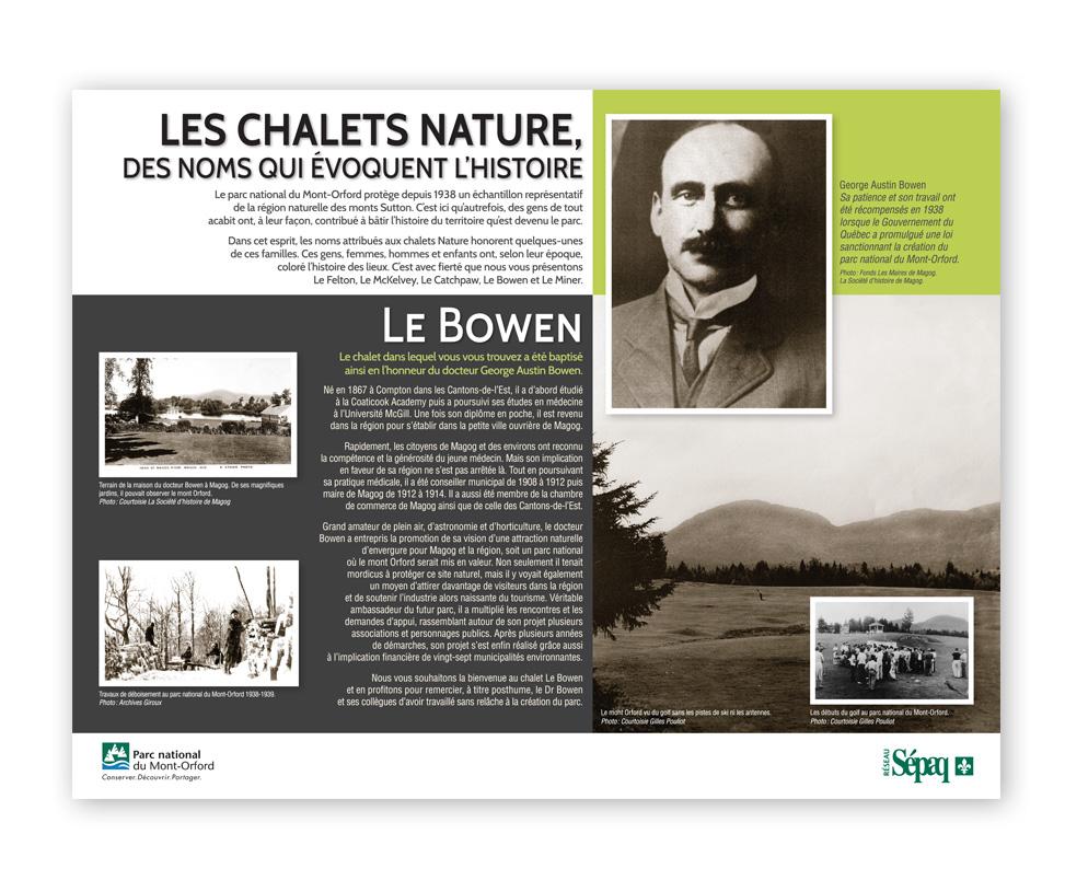 Panneaux historique Mont-Orford SEPAQ, Le Bowen